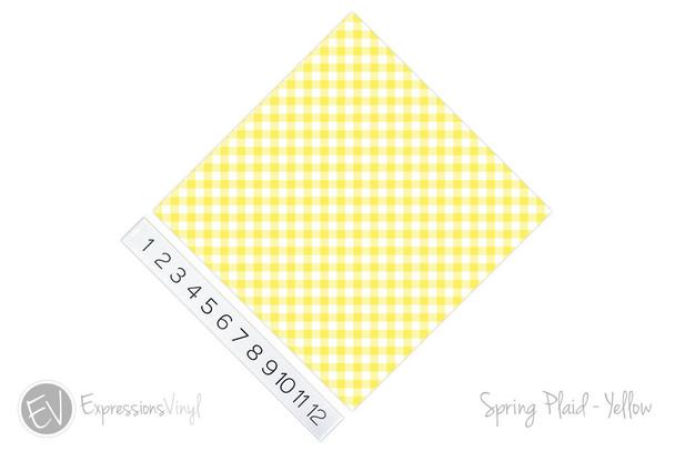 "12""x12"" Patterned Heat Transfer Vinyl - Spring Plaid - Yellow"