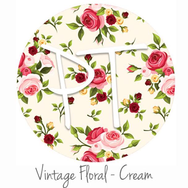 "12""x12"" Patterned Heat Transfer Vinyl - Vintage Floral - Cream"