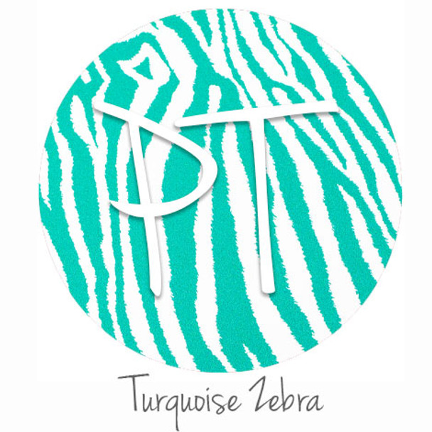 "12""x12"" Patterned Heat Transfer Vinyl - Zebra - Turquoise"