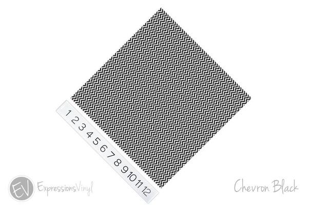 "12""x12"" Permanent Patterned Vinyl - Chevron Black"