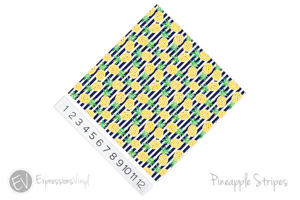 "12""x12"" Permanent Patterned Vinyl - Pineapple Stripes"