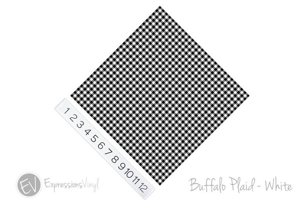 "12""x12"" Permanent Patterned Vinyl - Buffalo Plaid - White"