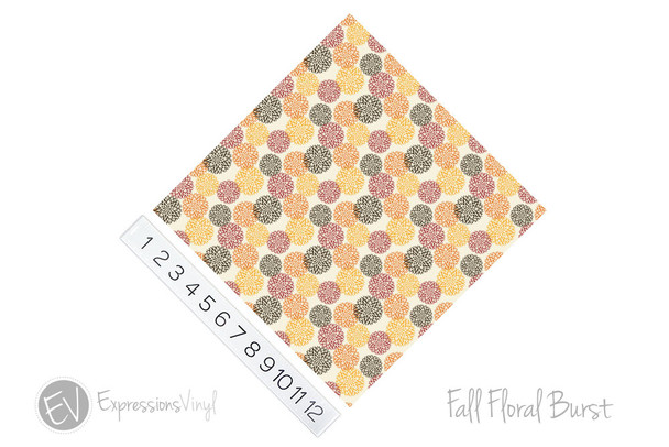"12""x12"" Patterned Heat Transfer Vinyl - Fall Floral Burst"