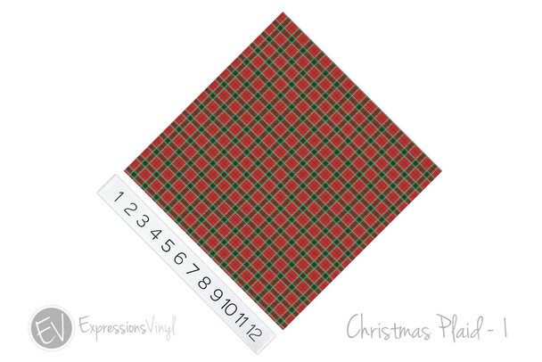 "12""x12"" Patterned Heat Transfer Vinyl - Christmas Plaid #1"