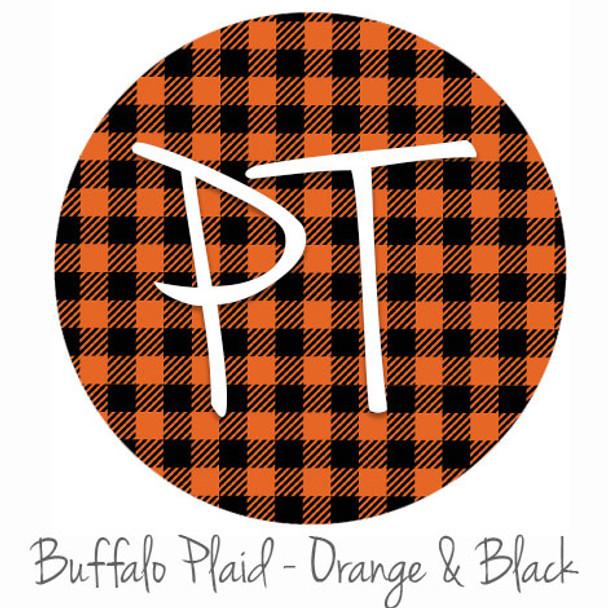 "12""x12"" Permanent Patterned Vinyl - Buffalo Plaid: Orange/Black"