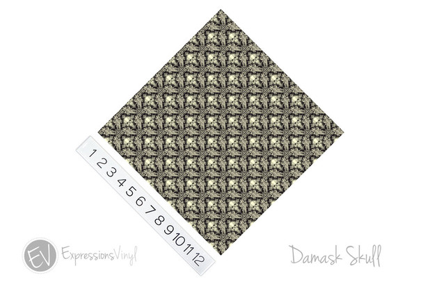 "12""x12"" Patterned Heat Transfer Vinyl - Damask Skulls"