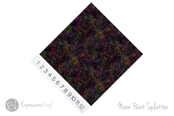 "12""x12"" Patterned Heat Transfer Vinyl - Neon Paint Splatter"
