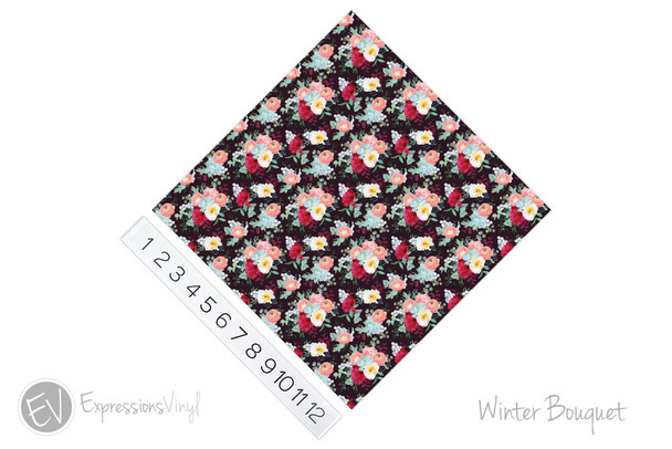 "12""x12"" Permanent Patterned Vinyl - Winter Bouquet"