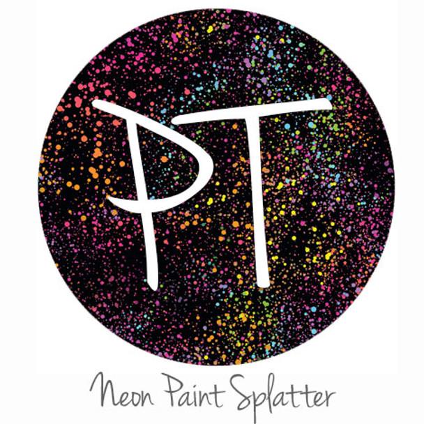 "12""x12"" Permanent Patterned Vinyl - Neon Paint Splatter"