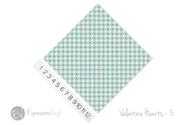 "12""x12"" Patterned Heat Transfer Vinyl - Valentine's Hearts 5"