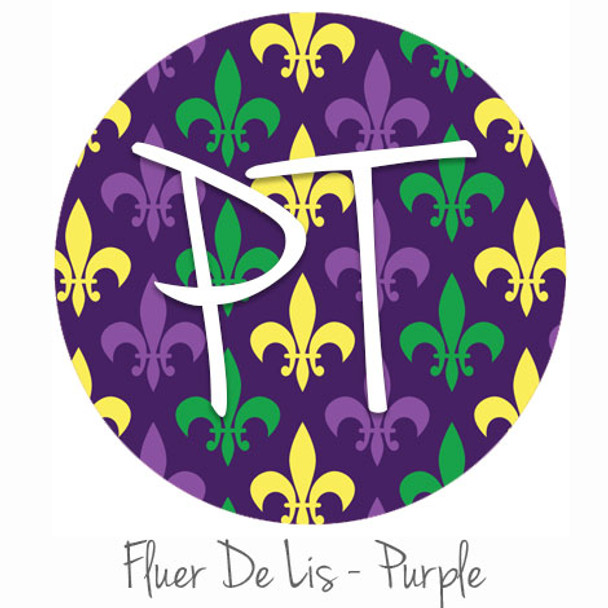 "12""x12"" Patterned Heat Transfer Vinyl - Purple Fleur-De-Lis"