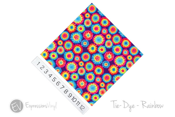 "12""x12"" Permanent Patterned Vinyl - Tie Dye - Rainbow"