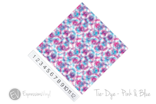 "12""x12"" Patterned Heat Transfer Vinyl - Tie Dye - Pink & Blue"