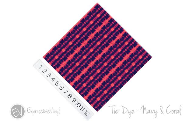 "12""x12"" Patterned Heat Transfer Vinyl - Tie Dye - Navy & Coral"