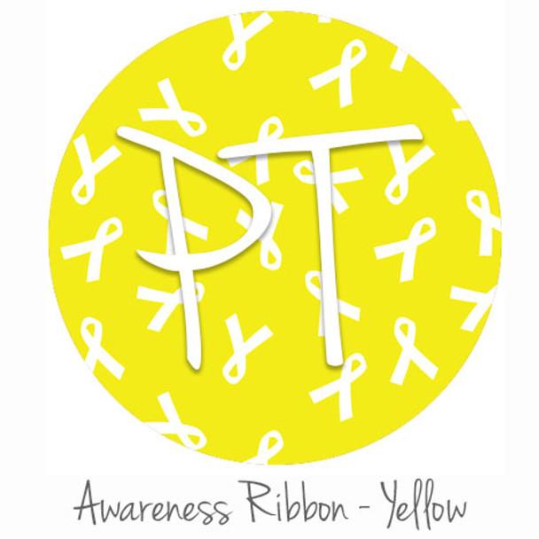 "12""x12"" Patterned Heat Transfer Vinyl - Awareness Ribbon - Yellow"