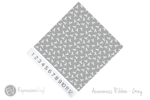 "12""x12"" Patterned Heat Transfer Vinyl - Awareness Ribbon - Grey"