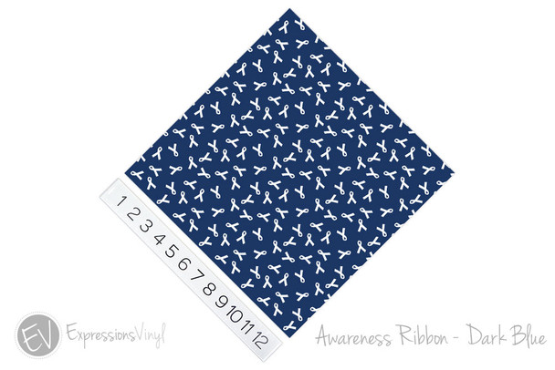 "12""x12"" Patterned Heat Transfer Vinyl - Awareness Ribbon - Dark Blue"