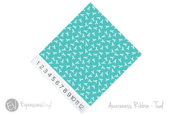 "12""x12"" Patterned Heat Transfer Vinyl - Awareness Ribbon - Teal"
