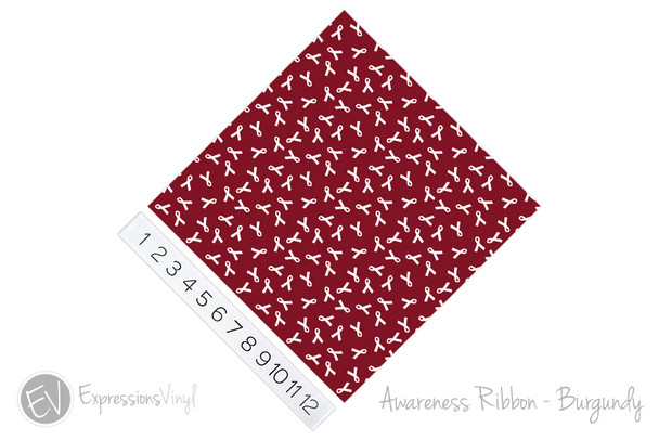 "12""x12"" Patterned Heat Transfer Vinyl - Awareness Ribbon - Burgundy"