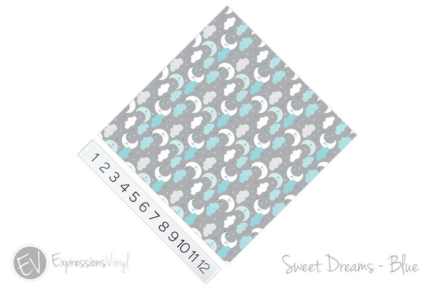 """12""""x12"""" Patterned Heat Transfer Vinyl -Sweet Dreams - Blue"""