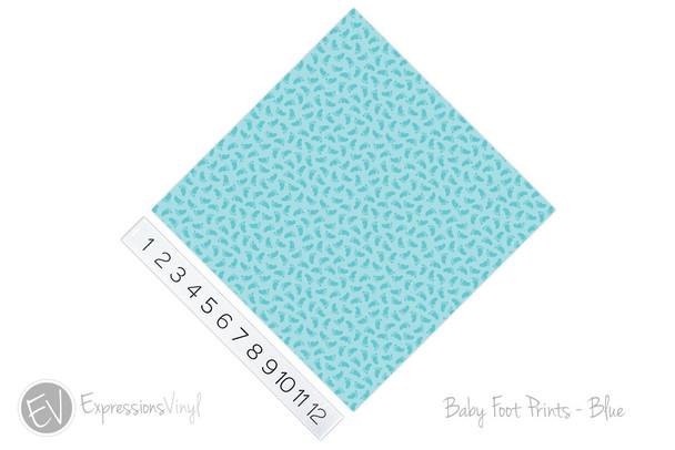 "12""x12"" Patterned Heat Transfer Vinyl - Baby Foot Prints - Blue"