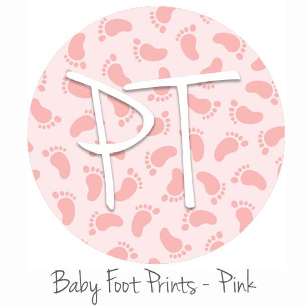 "12""x12"" Patterned Heat Transfer Vinyl - Baby Foot Prints - Pink"