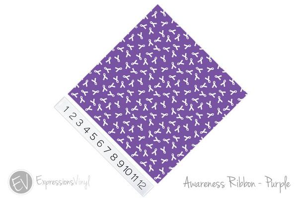 "12""x12"" Permanent Patterned Vinyl - Awareness Ribbon - Purple"