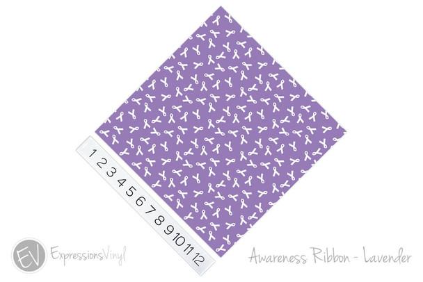 "12""x12"" Permanent Patterned Vinyl - Awareness Ribbon - Lavender"