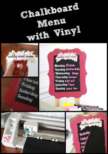 Chalkboard menu with vinyl
