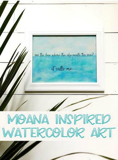 Moana inspired watercolor art