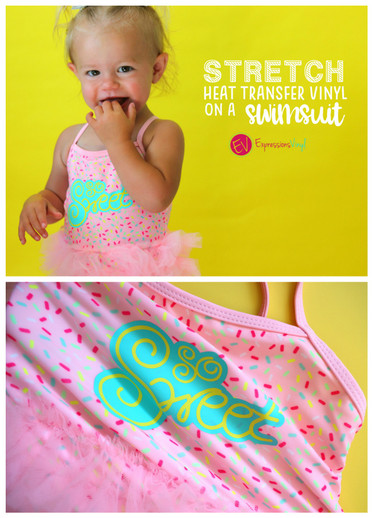 Stretch Heat Transfer Vinyl on a swimsuit