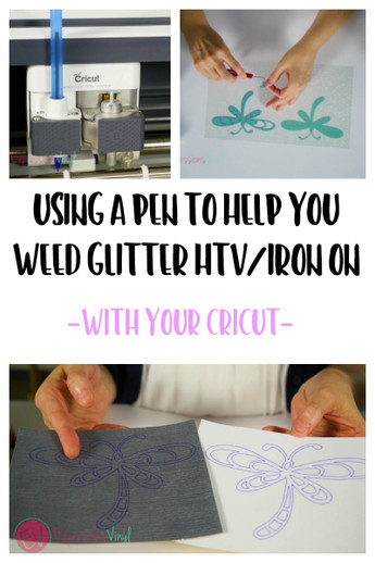 Using A Pen To Help Weed Glitter Htv Cricut Expressions