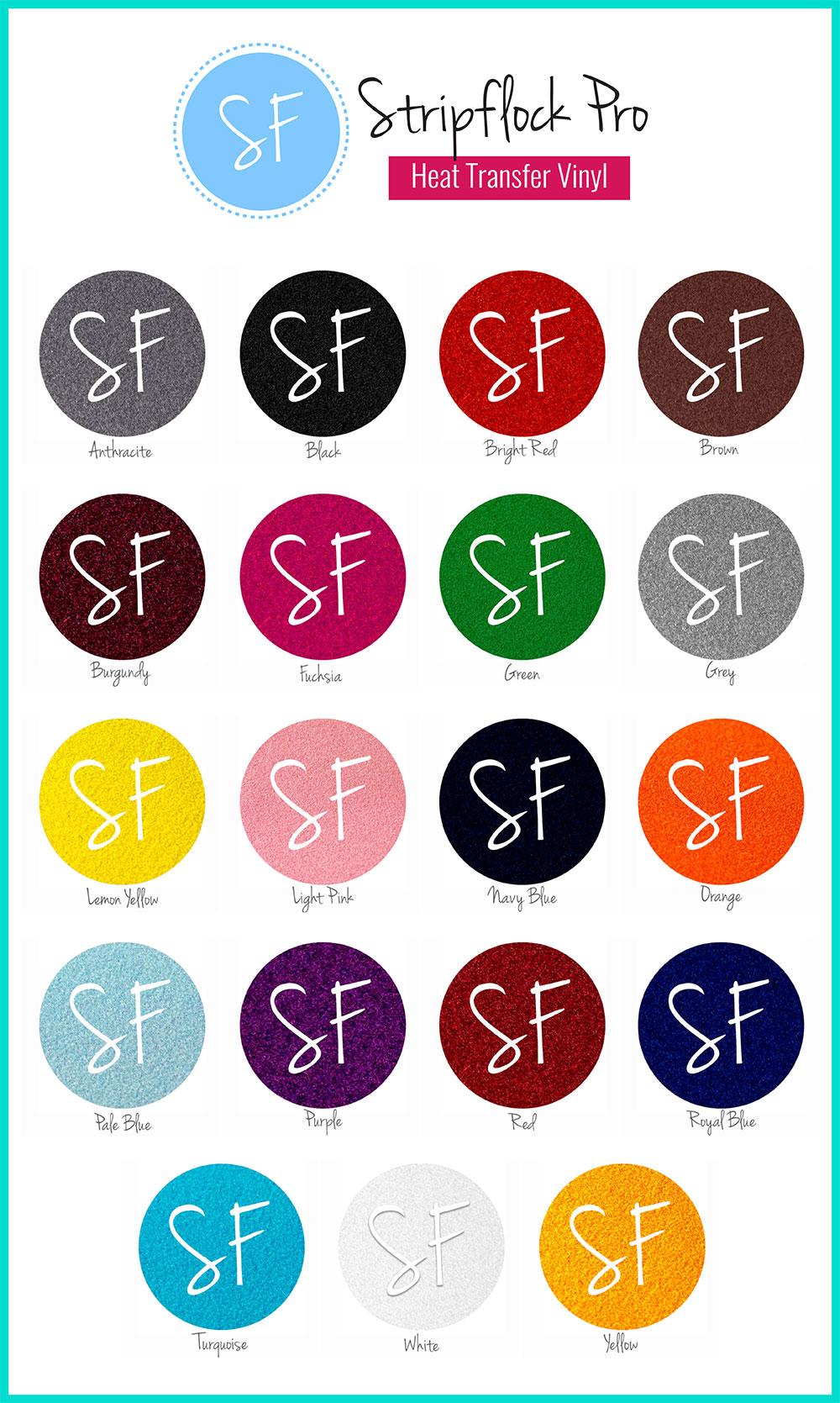 Stripflock Heat Transfer Vinyl Color Chart