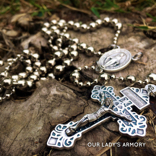 WWI Battle Rosary - Miraculous Medal and Pardon Crucifix