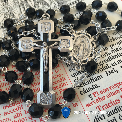 Via Crucis jet black glass rosary