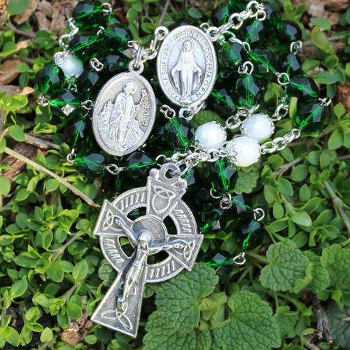 Saint Patrick's Fire-Polished Czech Glass Rosary