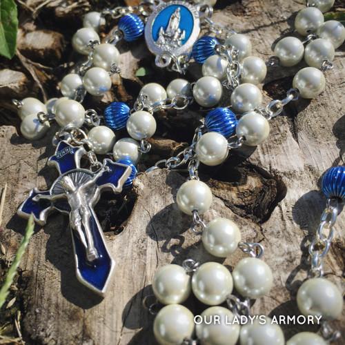 Sword of Fatima white hematite rosary