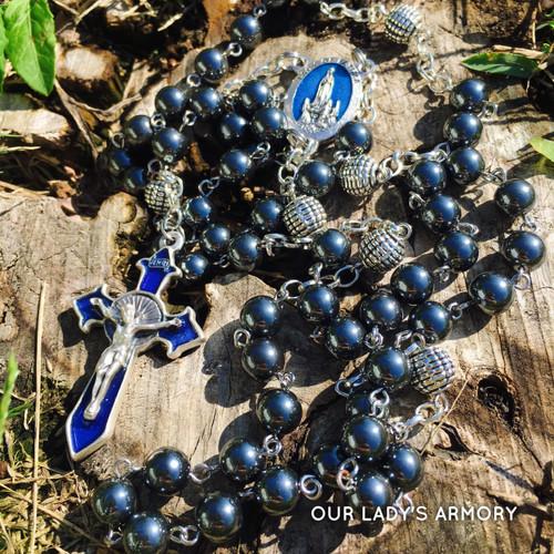 Sword of Fatima black hematite rosary