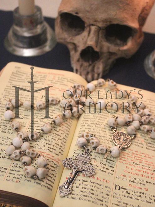 Memento Mori Howlite Skull Rosary