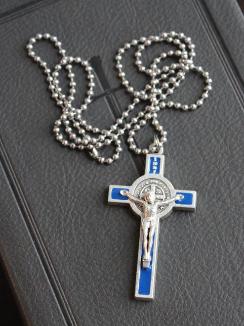 Saint Benedict Blue Enamel Crucifix Necklace