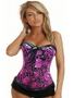Black and Pink Floral Tapestry Corset