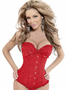 Red Brocade Formal Corset with ruffle trim