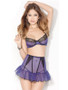 Purple Mesh Bra and Suspender Skirt Waist Cincher Set