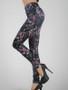 Black ladies Leggings with rose print