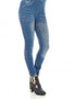 Blue crushed jeans look jeggings