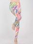Rainbow Feather Decorative Leggings