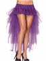 Long mesh & lace bustle Burlesque skirt in purple