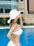 White strapless with optional Halter bikini