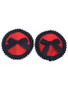 Red round pasties with cute black bows