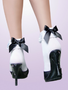 Cute white anklet socks with lace and black satin bows